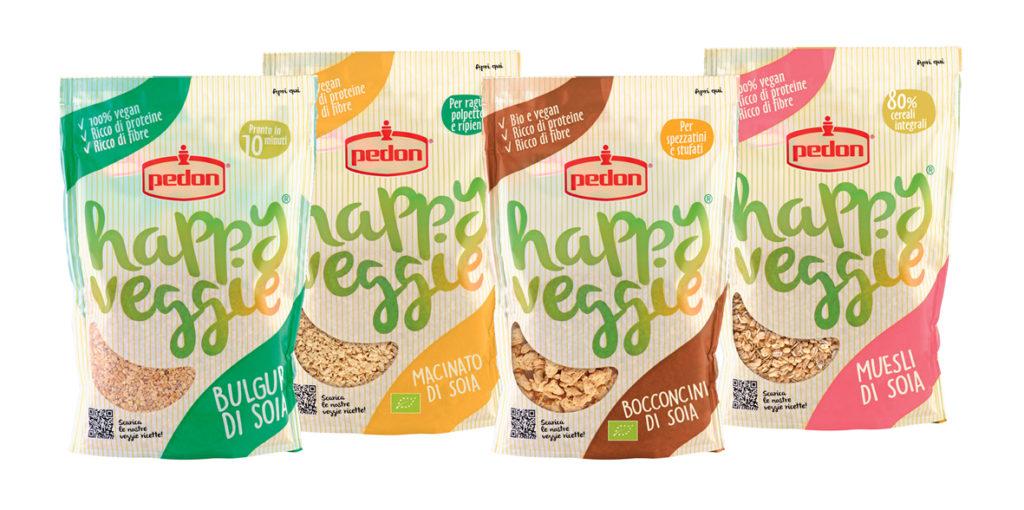 La gamma Happy Veggie di Pedon: Bulgur di soia, Macinato di soia bio, Bocconcini di soia bio, Muesli di soia