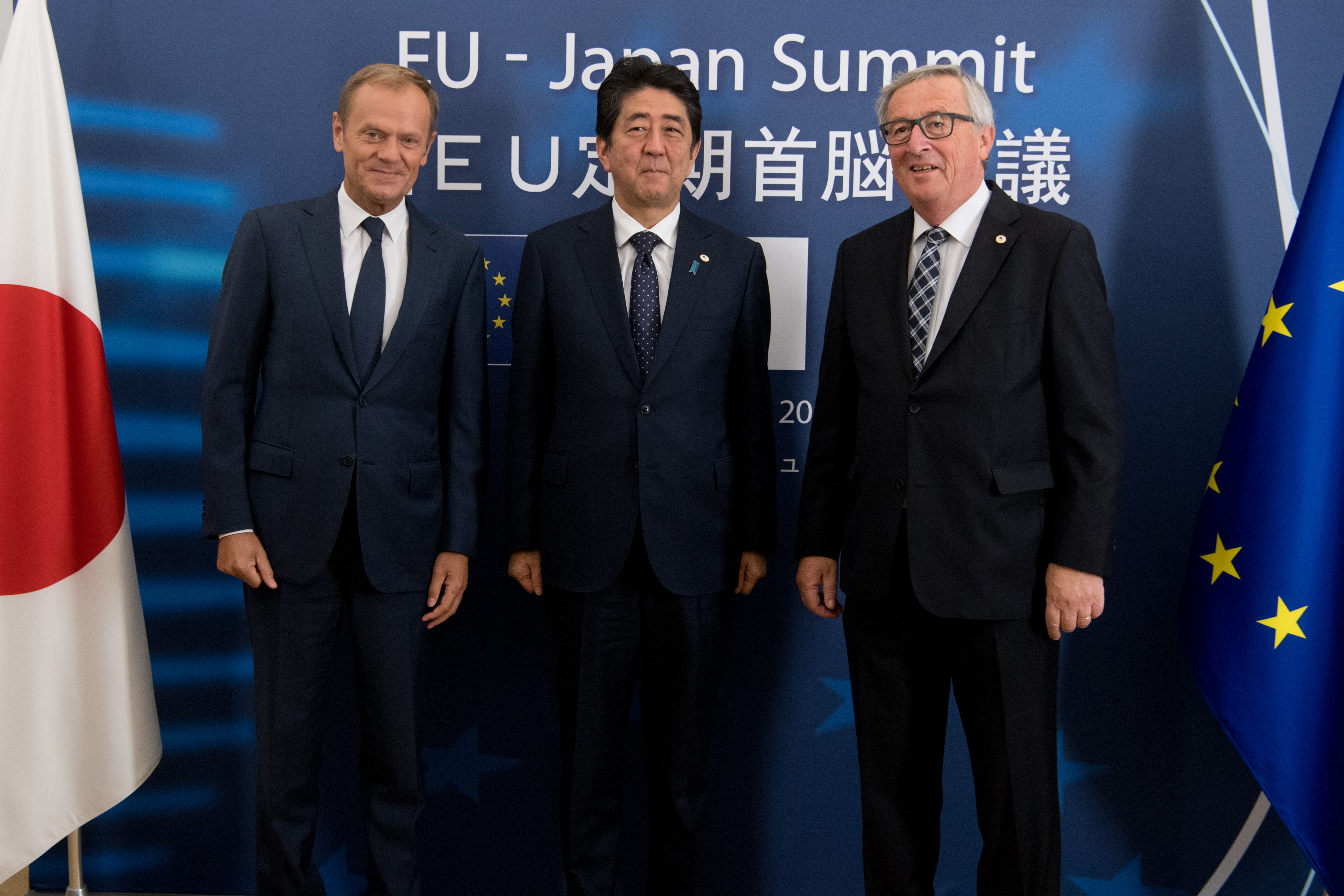 Participation of Jean-Claude Juncker, President of the EC, Donald Tusk, President of the European Council and Shinzō Abe, Japanese Prime Minister at the EU-Japan Summit