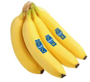 La banana Chiquita, con l'inconfondibile marchio blu, leader di mercato