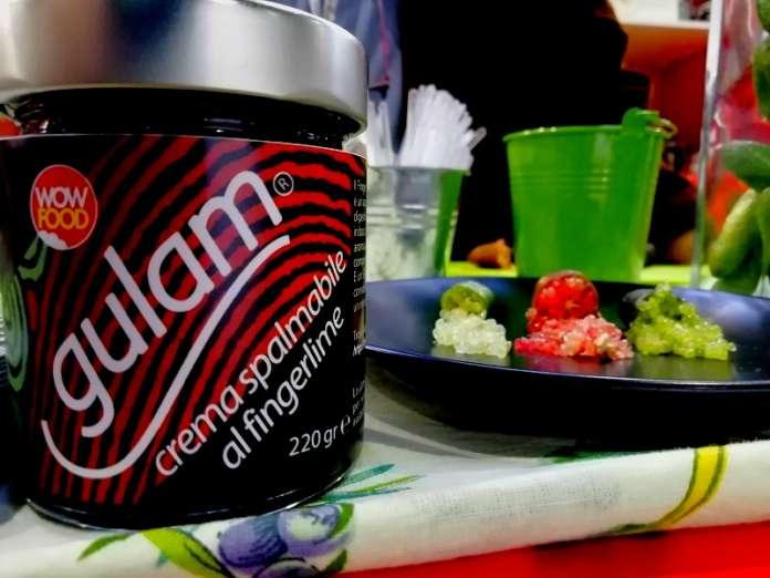 Gulam è una delle 5 referenze di creme spalmabili della linea Chokkanti agrumi: è preparata con finger lime calabrese e siciliano