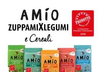 La linea ZuppamiXlegumi e cereali di AMÍO è costituita da piatti unici bilanciati di carboidrati e proteine