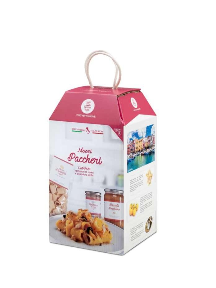 My Cooking Box offre un'ampia gamma di ricette regionali con prodotti 100% italiani, come i mezzi paccheri campani
