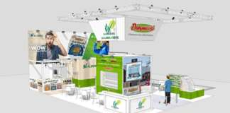 L'avveniristico stand de La Linea Verde alla fiera Tuttofood, all'interno di Fruit Innovation