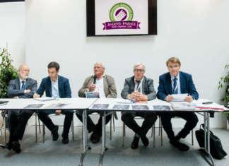 La presentazione dell'International Asparagus Days a Macfrut: con il presidente di Cesena Fiera, Renzo Piraccini, e il presidente di Sival, Bruno Dupont