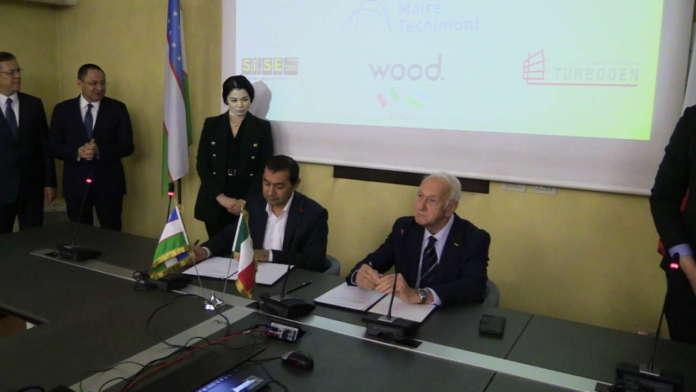 La sigla dell'intesa tra l'ambasciatore della Repubblica dell'Uzbekistan in Italia, Otabek Akbarov, e il presidente di Besana, Pino Calcagni