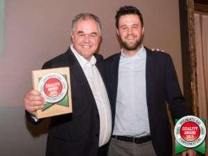 Alberto e Damiano Musacchio con il riconoscimento Quality Award 2019 conquistato con Food Evolution