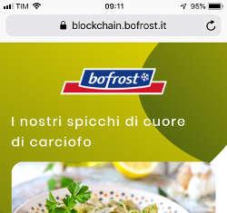 Spicchi di Cuore di Carciofo è una delle due referenze tracciate da Bofrost con la clockchain