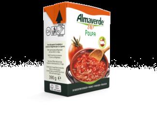 La polpa di pomodoro a marchio Almavedere bio: il packaging, con apertura a strappo, è completamente riciclabile