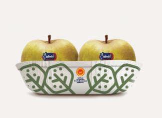 L'innovativa vaschetta 4 frutti biodegradabile, compostabile e riutilizzabile lanciata sul mercato da Ghelfi Ondulati, Biopap e Melinda