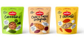 Le tre linee della gamma I Pronti di Pedon: cereali e legumi cotti al vapore che si conservano a scaffale, a temperatura ambiente
