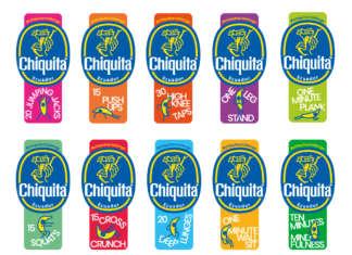 """I 10 Bollini Blu """"fitness"""" di Chiquita che spiegano, ognuno, l'esercizio per rimettersi in forma e stare in salute"""