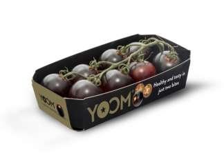 Innovativo è anche il packaging di Yoom, il pomodoro dalla polpa violacea sviluppato da Syngenta