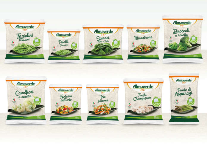 Le verdure surgelate a marchio Almaverde Bio in packaging compostabile presentate ad Anuga