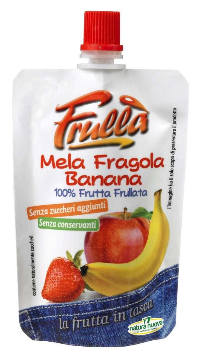 Frullà Mela Fragola Banana. è un frullato 100% di frutta fresca, senza zuccheri aggiunti, né conservanti