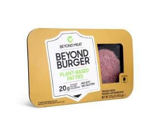 La confezione retail del Beyond Burger di Beyond Meat. Sarà collocata nel banco macelleria