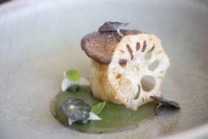 Fungo cardoncello, radice di loto fritta e pesto di menta: un piatto di Raffaele Lenzi del menu Vegetali, tuberi e radici