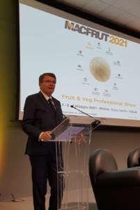 Renzo Piraccini, presidente di Macfrut durante la presentazione dell'edizione 2021