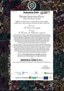 Premio Industria Felix all'azienda Lusia