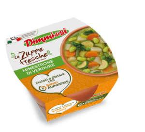 Minestrone di verdure Dimmidisì, con il logo Aiutaci a donare con il Banco Alimentare