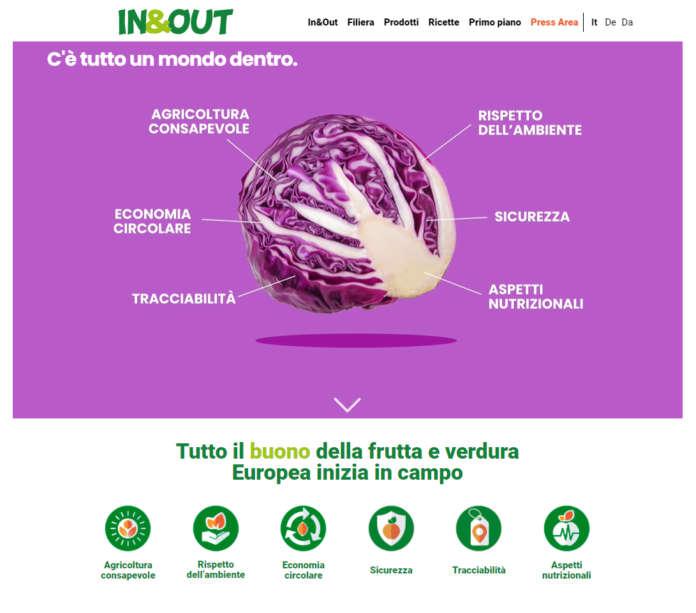 Le sei sei macro aree del sito web In&Out sviluppato da Apo Conerpo