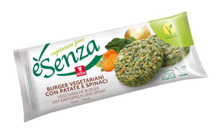 èSenza Burger vegetariani con patate e spinaci