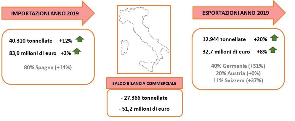 Commercio estero della fragola. Fonte: elaborazione BMTI su dati ISTAT