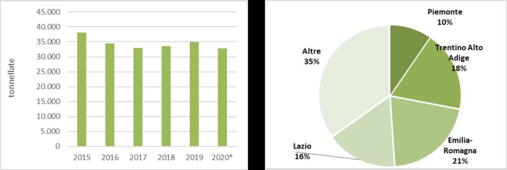 Produzione delle fragole in piena aria. Fonte: elaborazione BMTI su dati ISTAT