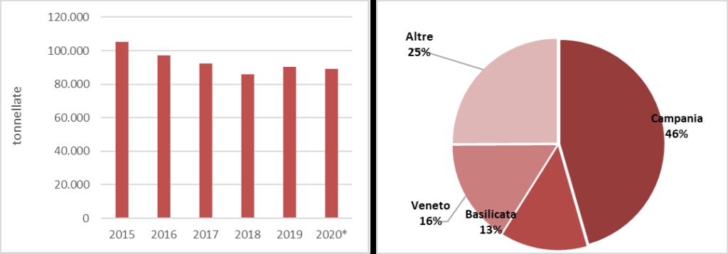 Produzione delle fragole in serra. Fonte: elaborazione BMTI su dati ISTAT