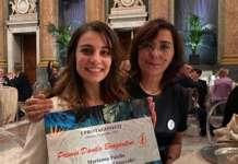 Marianna Palella vincitrice del Premio Bragantini 2020 con il presidente delll'associazione Donne dell'ortofrutta, Alessandra Ravaioli