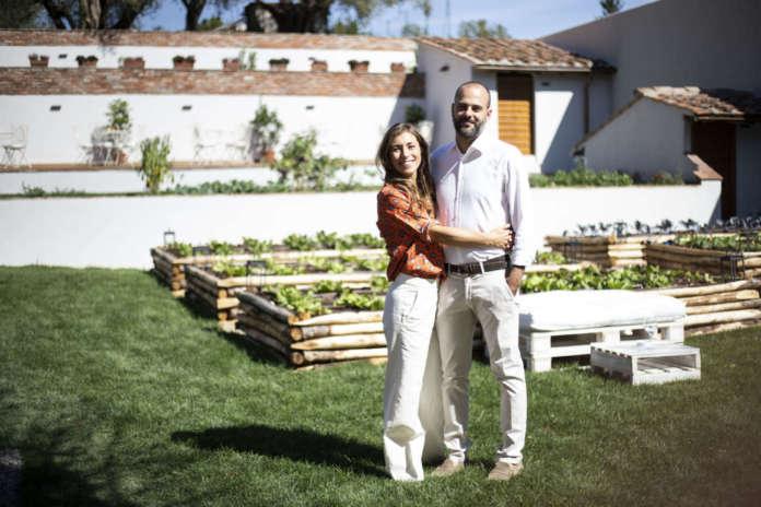 La chef Enrica Della Martira con il marito Lorenzo Galli Torrini (figlio della proprietaria dell'Orto San Frediano)