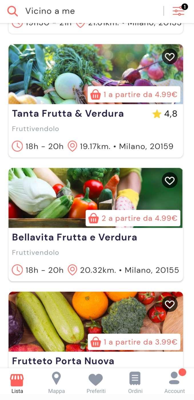 La app di Phenix Italia con il filtro frutta e verdura